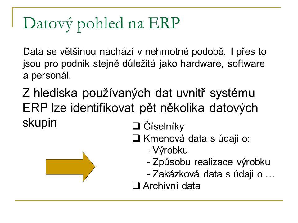 Datový pohled na ERP Z hlediska používaných dat uvnitř systému ERP lze identifikovat pět několika datových skupin Data se většinou nachází v nehmotné podobě.