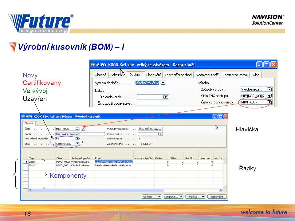 18 Výrobní kusovník (BOM) – I Hlavička Řádky Komponenty Nový Certifikovaný Ve vývoji Uzavřen