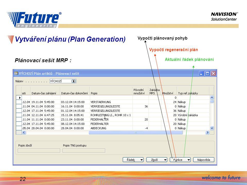 22 Vytváření plánu (Plan Generation) Plánovací sešit MRP : Vypočti plánovaný pohyb Vypočti regenerační plán Aktuální řádek plánování