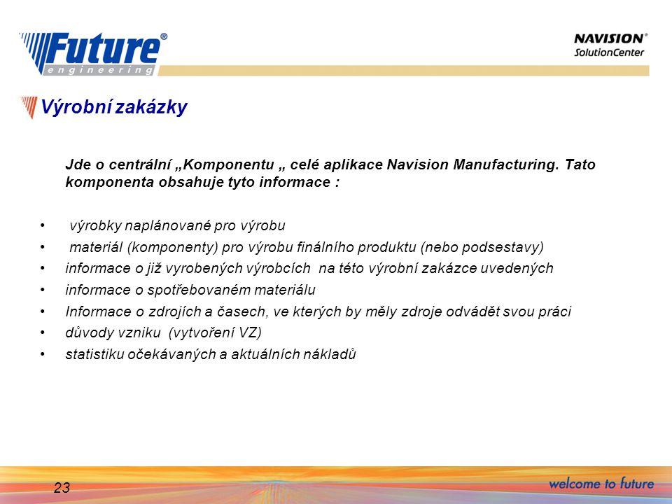 """23 Výrobní zakázky Jde o centrální """"Komponentu """" celé aplikace Navision Manufacturing. Tato komponenta obsahuje tyto informace : výrobky naplánované p"""