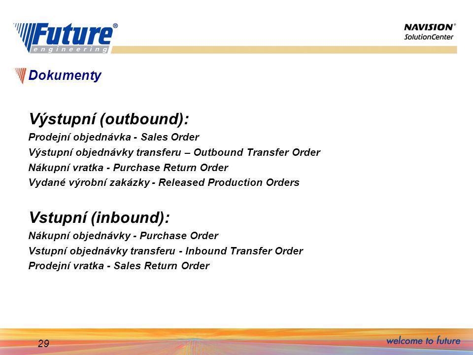 29 Dokumenty Výstupní (outbound): Prodejní objednávka - Sales Order Výstupní objednávky transferu – Outbound Transfer Order Nákupní vratka - Purchase Return Order Vydané výrobní zakázky - Released Production Orders Vstupní (inbound): Nákupní objednávky - Purchase Order Vstupní objednávky transferu - Inbound Transfer Order Prodejní vratka - Sales Return Order