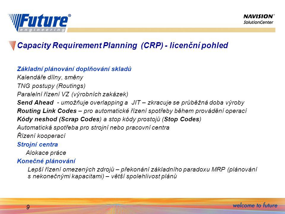 9 Capacity Requirement Planning (CRP) - licenční pohled Základní plánování doplňování skladů Kalendáře dílny, směny TNG postupy (Routings) Paralelní řízení VZ (výrobních zakázek) Send Ahead - umožňuje overlapping a JIT – zkracuje se průběžná doba výroby Routing Link Codes – pro automatické řízení spotřeby během provádění operací Kódy neshod (Scrap Codes) a stop kódy prostojů (Stop Codes) Automatická spotřeba pro strojní nebo pracovní centra Řízení kooperací Strojní centra Alokace práce Konečné plánování Lepší řízení omezených zdrojů – překonání základního paradoxu MRP (plánování s nekonečnými kapacitami) – větší spolehlivost plánů