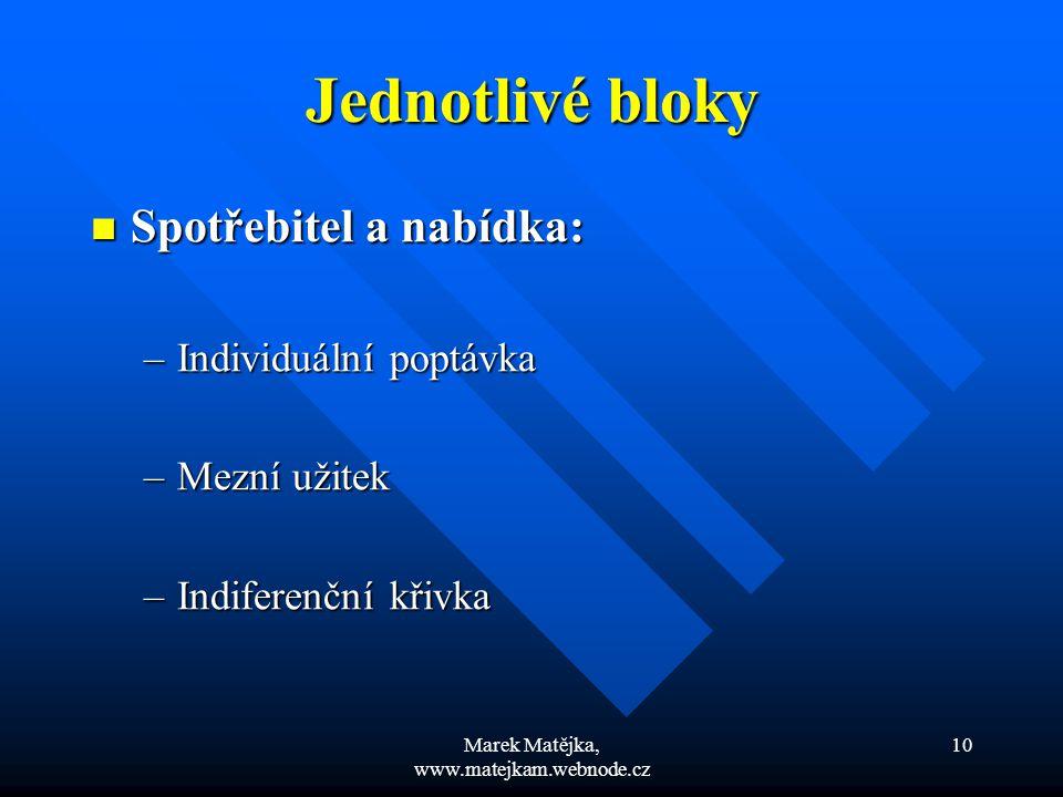 Marek Matějka, www.matejkam.webnode.cz 10 Jednotlivé bloky Spotřebitel a nabídka: Spotřebitel a nabídka: –Individuální poptávka –Mezní užitek –Indifer