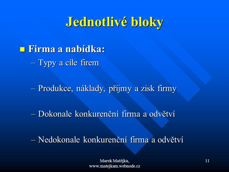 Marek Matějka, www.matejkam.webnode.cz 11 Jednotlivé bloky Firma a nabídka: Firma a nabídka: –Typy a cíle firem –Produkce, náklady, příjmy a zisk firm