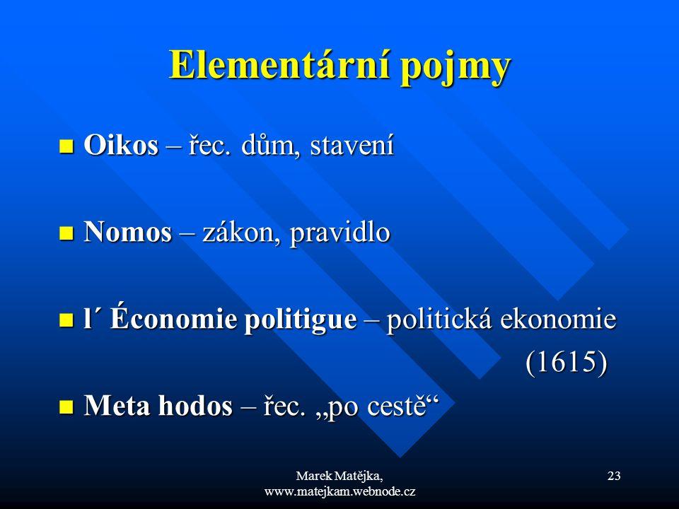 Marek Matějka, www.matejkam.webnode.cz 23 Elementární pojmy Oikos – řec. dům, stavení Oikos – řec. dům, stavení Nomos – zákon, pravidlo Nomos – zákon,
