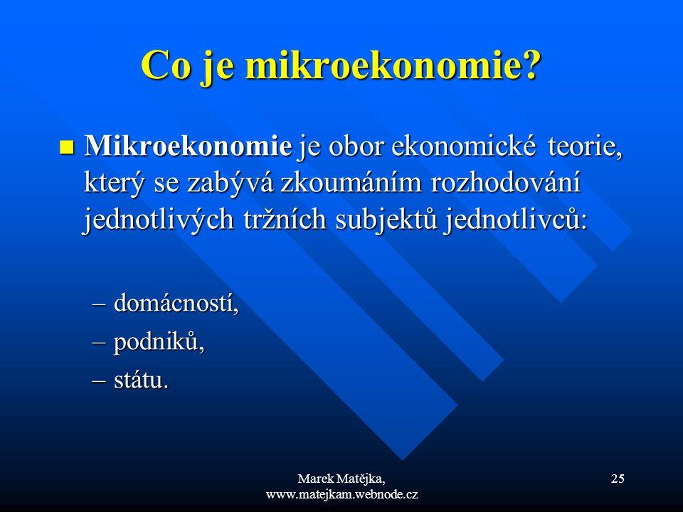 Marek Matějka, www.matejkam.webnode.cz 25 Co je mikroekonomie? Mikroekonomie je obor ekonomické teorie, který se zabývá zkoumáním rozhodování jednotli