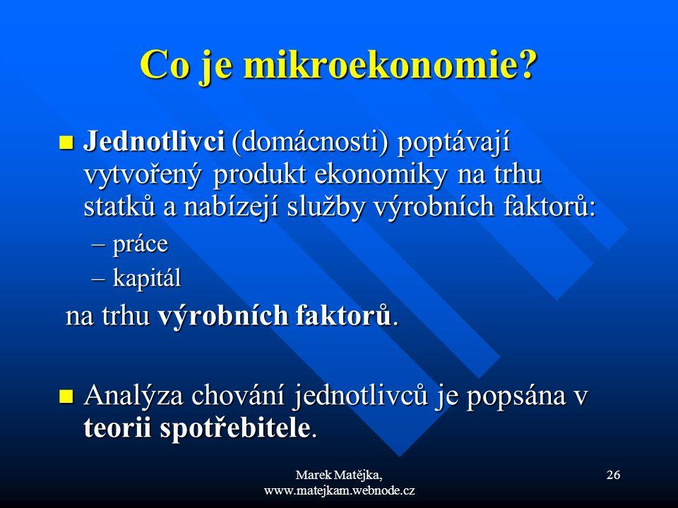 Marek Matějka, www.matejkam.webnode.cz 26 Co je mikroekonomie? Jednotlivci (domácnosti) poptávají vytvořený produkt ekonomiky na trhu statků a nabízej