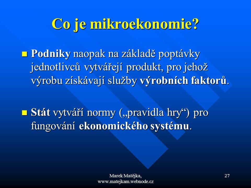 Marek Matějka, www.matejkam.webnode.cz 27 Co je mikroekonomie? Podniky naopak na základě poptávky jednotlivců vytvářejí produkt, pro jehož výrobu získ