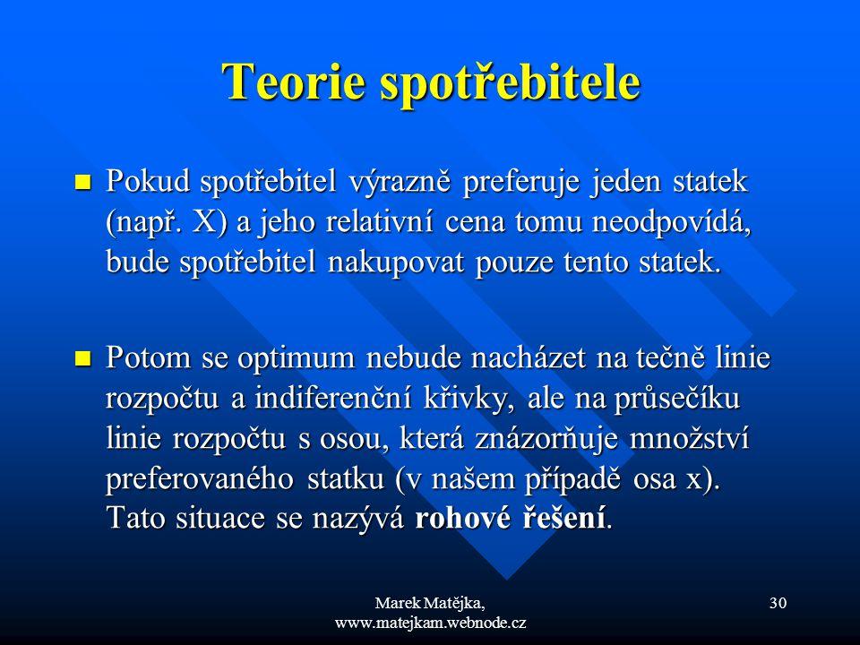 Marek Matějka, www.matejkam.webnode.cz 30 Teorie spotřebitele Pokud spotřebitel výrazně preferuje jeden statek (např. X) a jeho relativní cena tomu ne