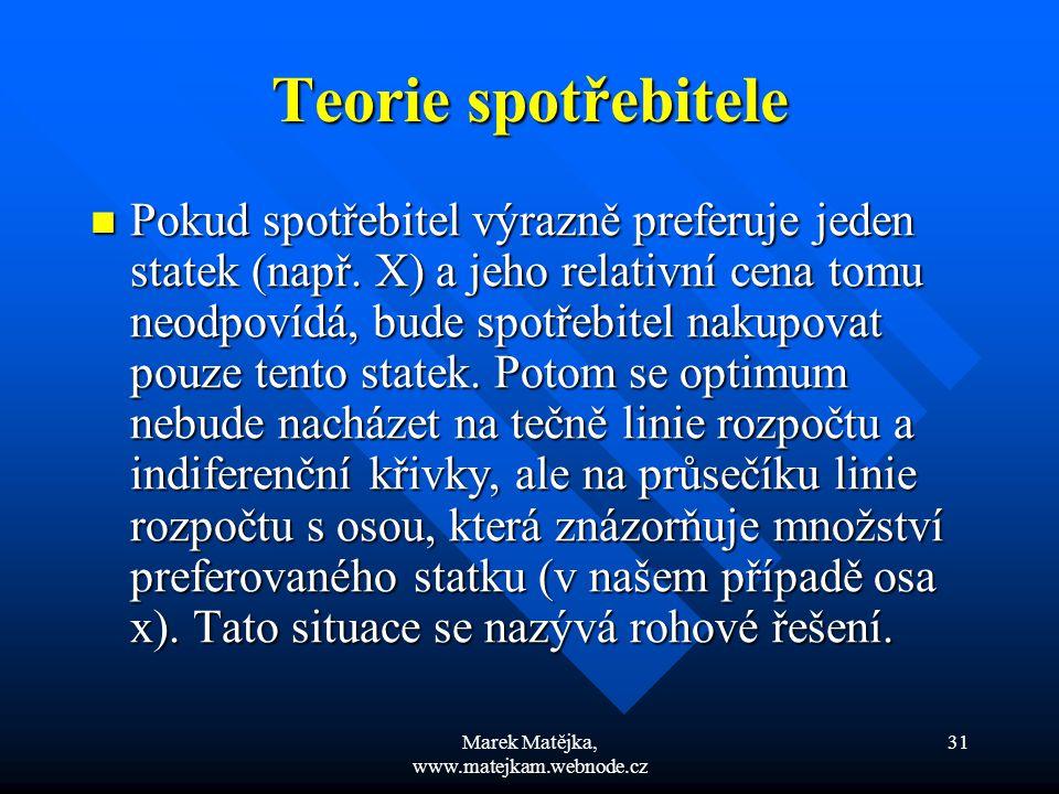 Marek Matějka, www.matejkam.webnode.cz 31 Teorie spotřebitele Pokud spotřebitel výrazně preferuje jeden statek (např. X) a jeho relativní cena tomu ne