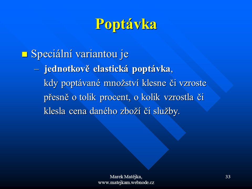 Marek Matějka, www.matejkam.webnode.cz 33 Poptávka Speciální variantou je Speciální variantou je – jednotkově elastická poptávka, kdy poptávané množst