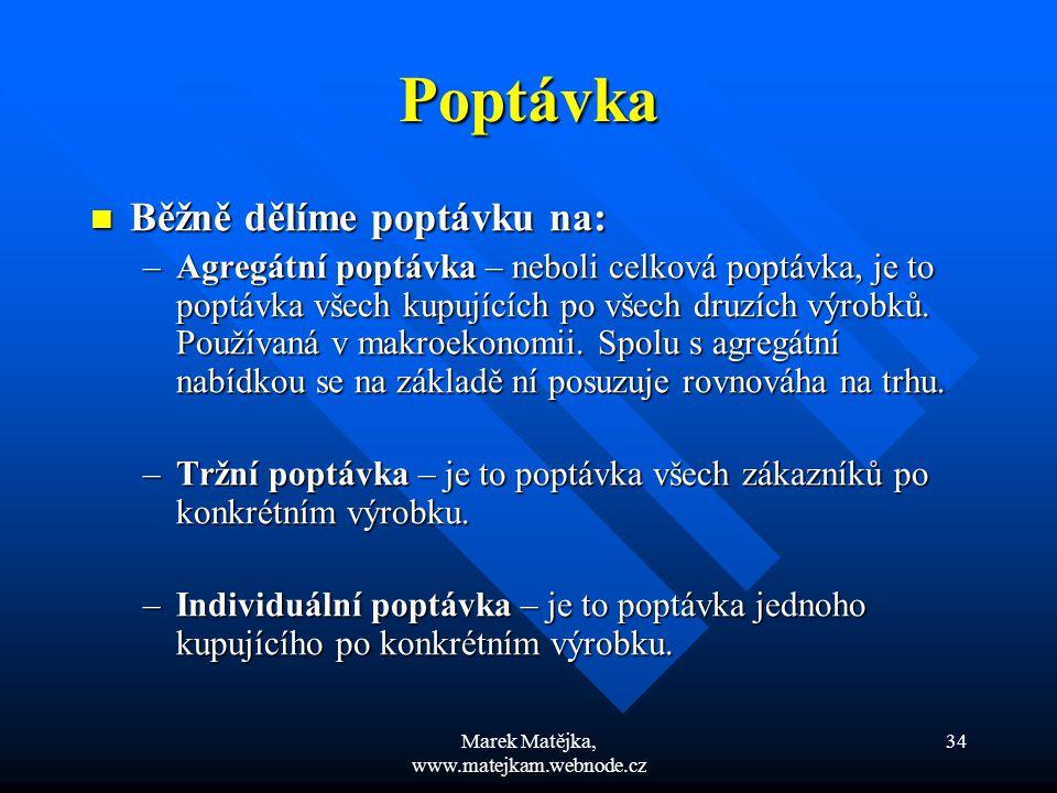 Marek Matějka, www.matejkam.webnode.cz 34 Poptávka Běžně dělíme poptávku na: Běžně dělíme poptávku na: –Agregátní poptávka – neboli celková poptávka,