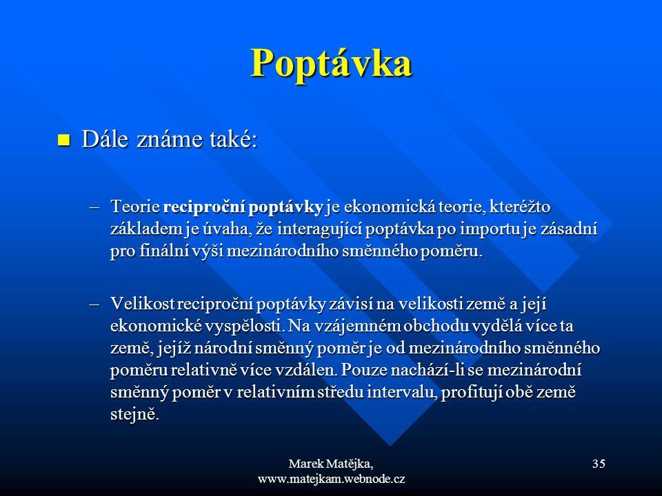 Marek Matějka, www.matejkam.webnode.cz 35 Poptávka Dále známe také: Dále známe také: –Teorie reciproční poptávky je ekonomická teorie, kteréžto základ