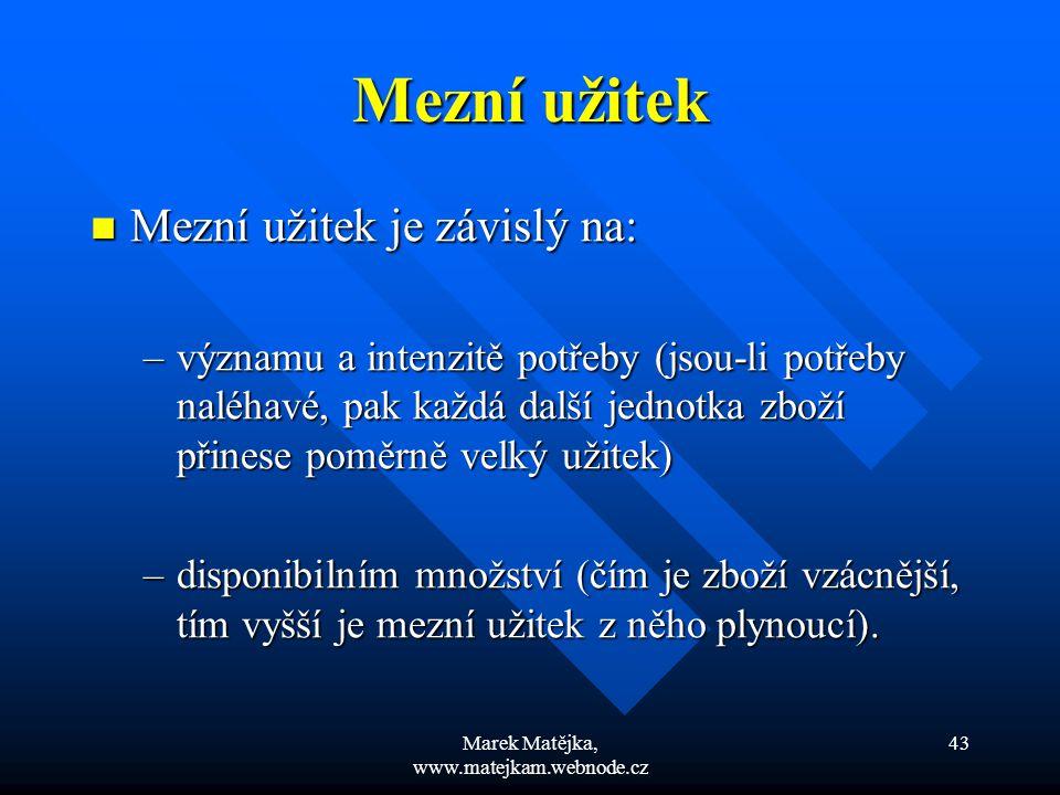 Marek Matějka, www.matejkam.webnode.cz 43 Mezní užitek Mezní užitek je závislý na: Mezní užitek je závislý na: –významu a intenzitě potřeby (jsou-li p