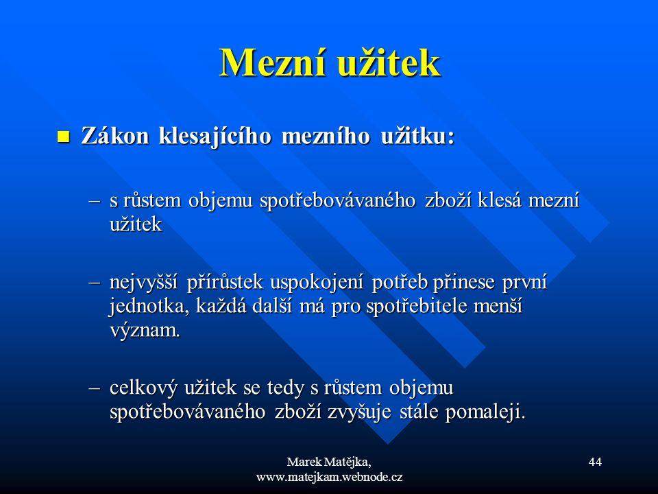 Marek Matějka, www.matejkam.webnode.cz 44 Mezní užitek Zákon klesajícího mezního užitku: Zákon klesajícího mezního užitku: –s růstem objemu spotřebová