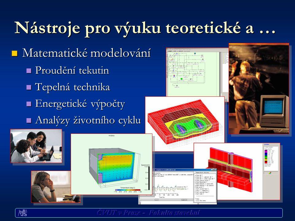 Nástroje pro výuku teoretické a … Matematické modelování Matematické modelování Proudění tekutin Proudění tekutin Tepelná technika Tepelná technika Energetické výpočty Energetické výpočty Analýzy životního cyklu Analýzy životního cyklu