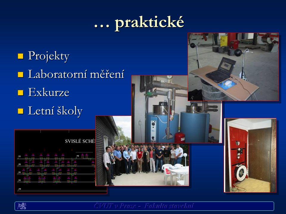 … praktické Projekty Projekty Laboratorní měření Laboratorní měření Exkurze Exkurze Letní školy Letní školy