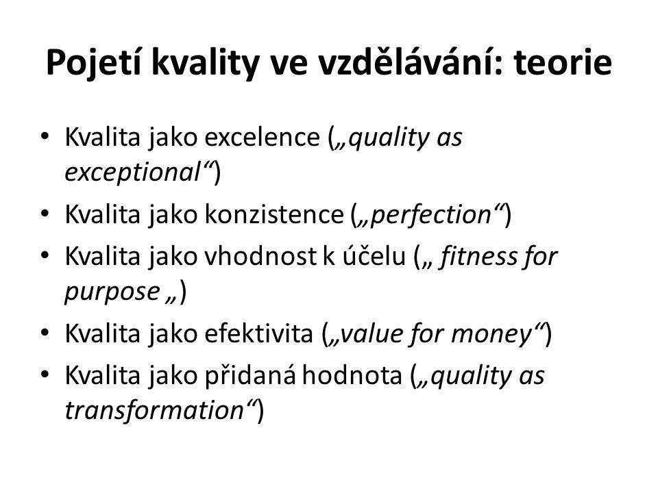 """Pojetí kvality ve vzdělávání: teorie Kvalita jako excelence (""""quality as exceptional ) Kvalita jako konzistence (""""perfection ) Kvalita jako vhodnost k účelu ("""" fitness for purpose """") Kvalita jako efektivita (""""value for money ) Kvalita jako přidaná hodnota (""""quality as transformation )"""