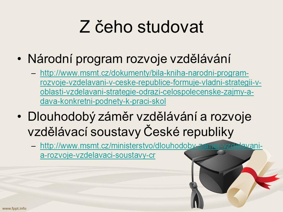Z čeho studovat Národní program rozvoje vzdělávání –http://www.msmt.cz/dokumenty/bila-kniha-narodni-program- rozvoje-vzdelavani-v-ceske-republice-formuje-vladni-strategii-v- oblasti-vzdelavani-strategie-odrazi-celospolecenske-zajmy-a- dava-konkretni-podnety-k-praci-skolhttp://www.msmt.cz/dokumenty/bila-kniha-narodni-program- rozvoje-vzdelavani-v-ceske-republice-formuje-vladni-strategii-v- oblasti-vzdelavani-strategie-odrazi-celospolecenske-zajmy-a- dava-konkretni-podnety-k-praci-skol Dlouhodobý záměr vzdělávání a rozvoje vzdělávací soustavy České republiky –http://www.msmt.cz/ministerstvo/dlouhodoby-zamer-vzdelavani- a-rozvoje-vzdelavaci-soustavy-crhttp://www.msmt.cz/ministerstvo/dlouhodoby-zamer-vzdelavani- a-rozvoje-vzdelavaci-soustavy-cr