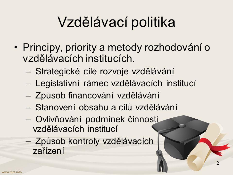 Působnost vzdělávací politiky Školské instituce – uplatněna legislativně potvrzená moc státního aparátu Mimoškolské vzdělávací instituce – kulturní, duchovní, tělovýchovné, výrobní a zájmové pro volný čas Rodina a neformální skupiny 3