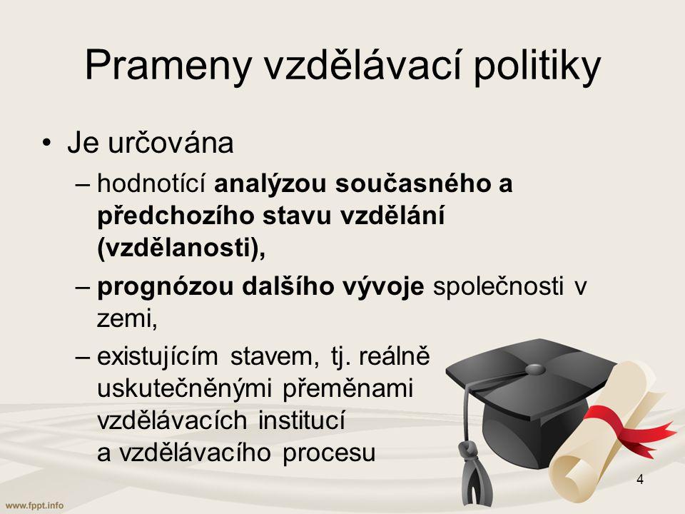Prameny vzdělávací politiky Je určována –hodnotící analýzou současného a předchozího stavu vzdělání (vzdělanosti), –prognózou dalšího vývoje společnosti v zemi, –existujícím stavem, tj.