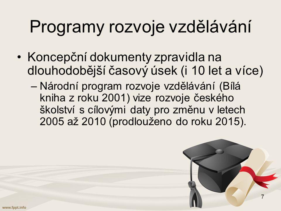 Programy rozvoje vzdělávání Koncepční dokumenty zpravidla na dlouhodobější časový úsek (i 10 let a více) –Národní program rozvoje vzdělávání (Bílá kniha z roku 2001) vize rozvoje českého školství s cílovými daty pro změnu v letech 2005 až 2010 (prodlouženo do roku 2015).