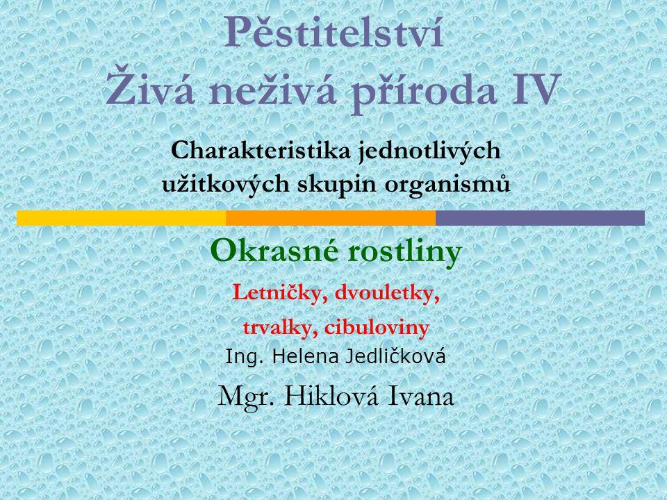 Pěstitelství Živá neživá příroda IV Charakteristika jednotlivých užitkových skupin organismů Okrasné rostliny Letničky, dvouletky, trvalky, cibuloviny