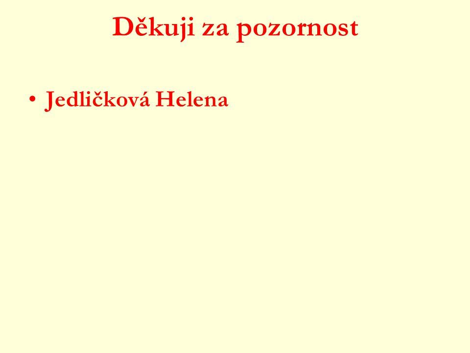 Děkuji za pozornost Jedličková Helena