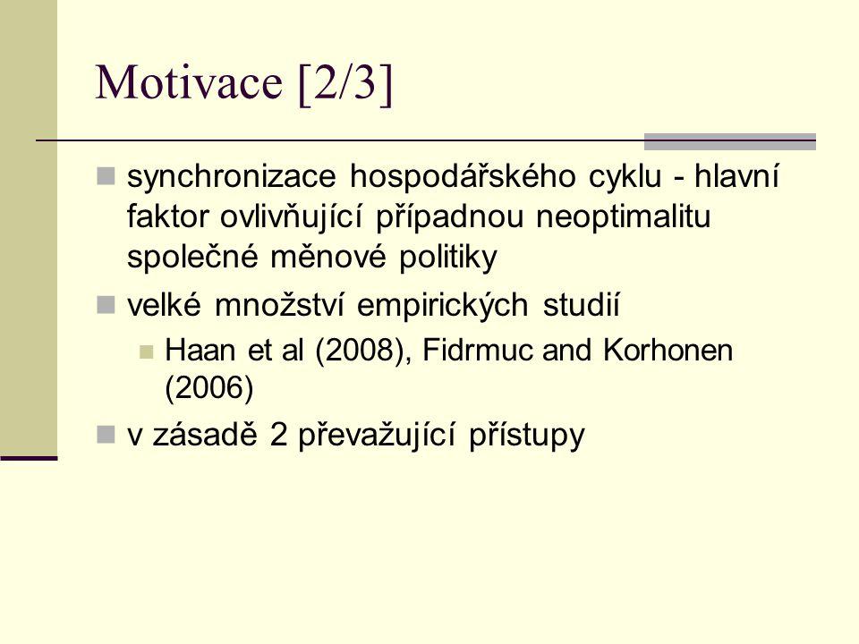 Motivace [2/3] synchronizace hospodářského cyklu - hlavní faktor ovlivňující případnou neoptimalitu společné měnové politiky velké množství empirickýc
