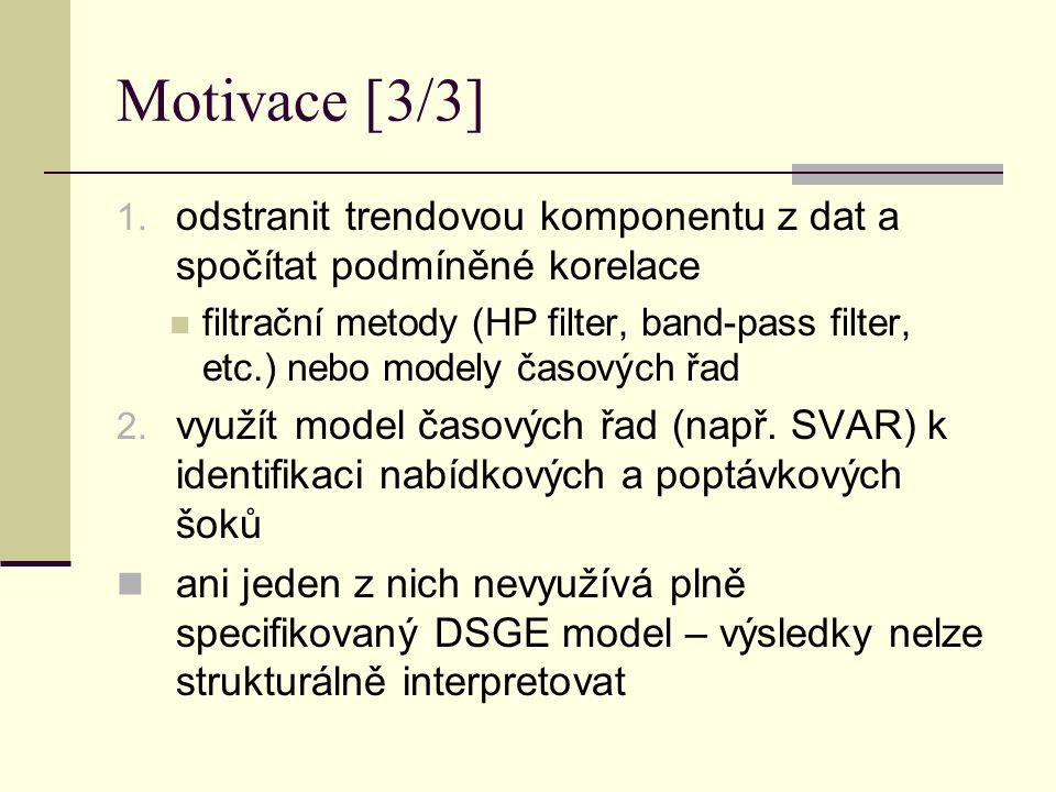Motivace [3/3] 1. odstranit trendovou komponentu z dat a spočítat podmíněné korelace filtrační metody (HP filter, band-pass filter, etc.) nebo modely