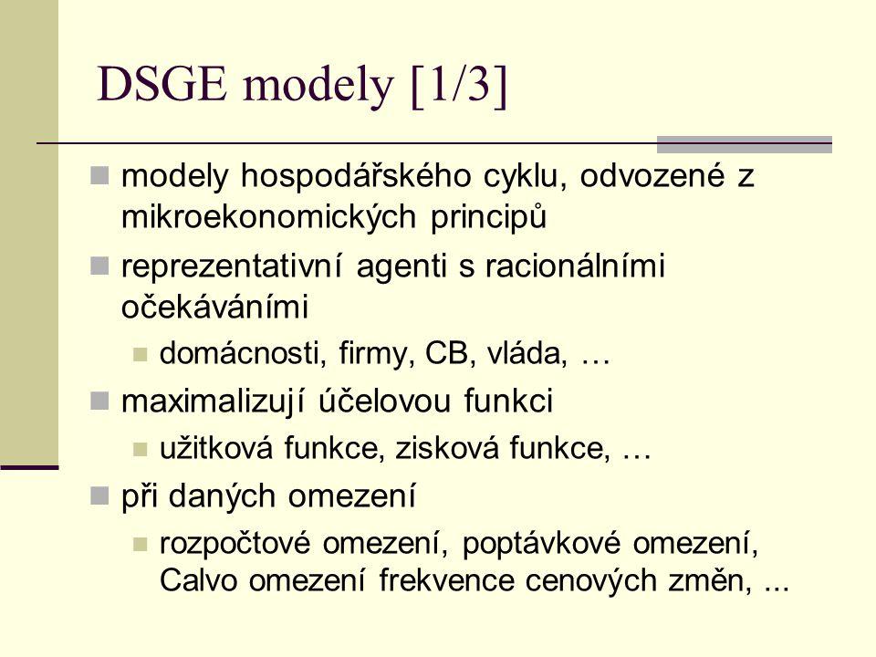 DSGE modely [1/3] modely hospodářského cyklu, odvozené z mikroekonomických principů reprezentativní agenti s racionálními očekáváními domácnosti, firm