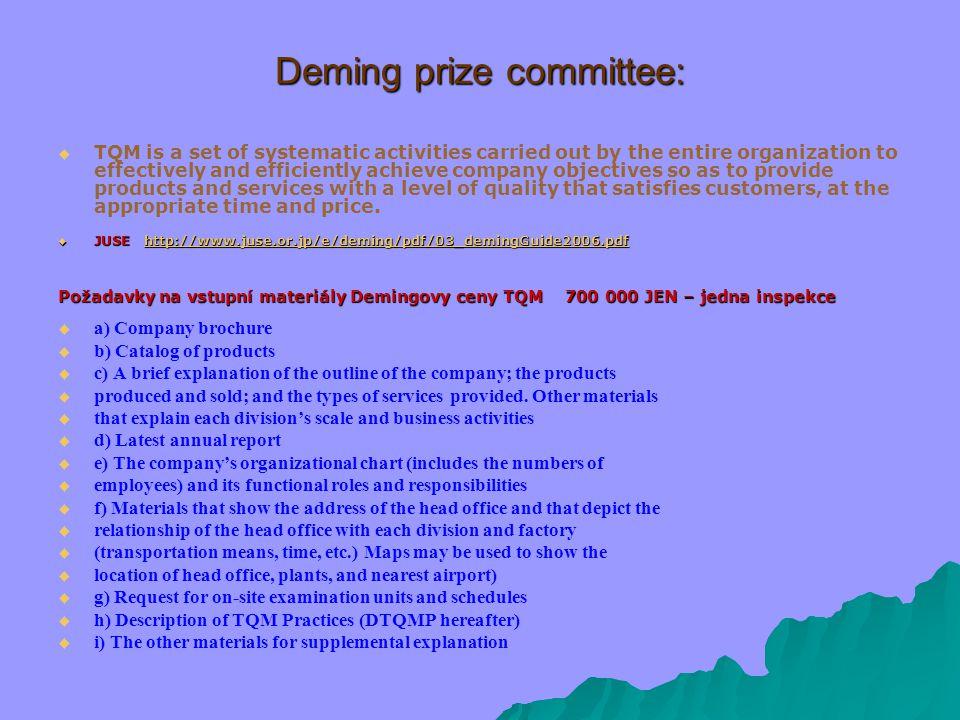 """TQM – subsystémy:  Technický: Principy TQM (orientace na zákazníka, kvalita na prvním místě, využívání informací, Demingův kruh – PDCA) Politika kvality – jasně definovaná – jako součást politiky organizace Pravomoci a odpovědnost Vzdělávání, školení… Použití technik řešení problémů http://www.tpca- cz.com/cz/production_tps.php http://www.tpca- cz.com/cz/production_tps.php  Sociální: """"kultura : - Styl řízení - Týmová práce - Méně hierarchie - Otevřené klima - Zapojení všech"""