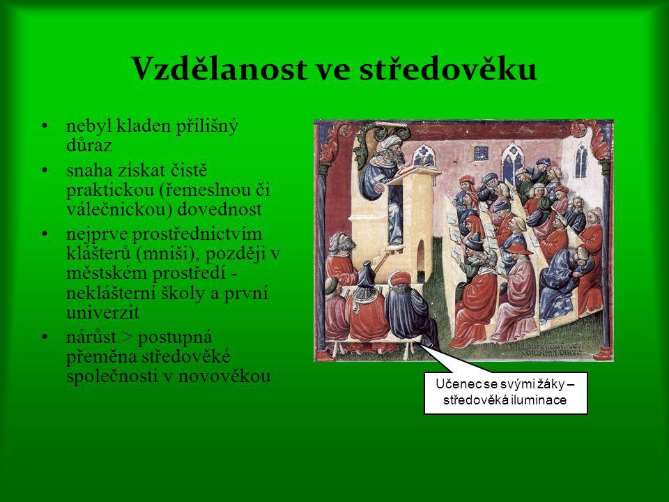 Vzdělanost ve středověku nebyl kladen přílišný důraz snaha získat čistě praktickou (řemeslnou či válečnickou) dovednost nejprve prostřednictvím klášterů (mniši), později v městském prostředí - neklášterní školy a první univerzit nárůst > postupná přeměna středověké společnosti v novověkou Učenec se svými žáky – středověká iluminace