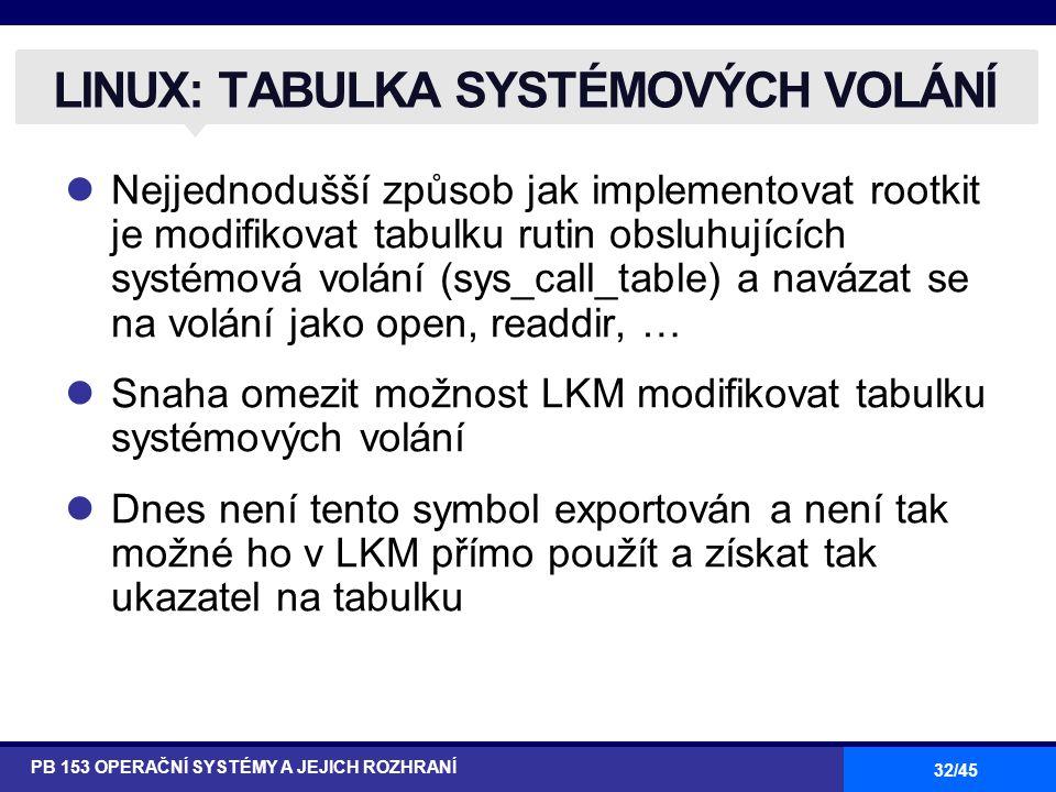 32/45 Nejjednodušší způsob jak implementovat rootkit je modifikovat tabulku rutin obsluhujících systémová volání (sys_call_table) a navázat se na volání jako open, readdir, … Snaha omezit možnost LKM modifikovat tabulku systémových volání Dnes není tento symbol exportován a není tak možné ho v LKM přímo použít a získat tak ukazatel na tabulku LINUX: TABULKA SYSTÉMOVÝCH VOLÁNÍ PB 153 OPERAČNÍ SYSTÉMY A JEJICH ROZHRANÍ