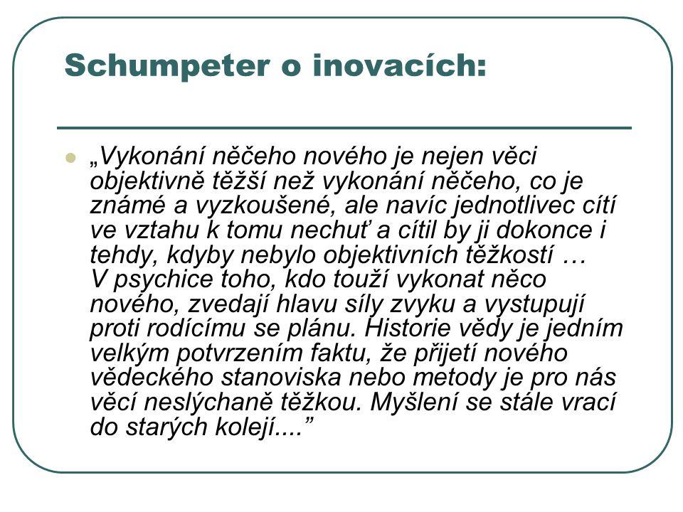 """Schumpeter o inovacích: """"Vykonání něčeho nového je nejen věci objektivně těžší než vykonání něčeho, co je známé a vyzkoušené, ale navíc jednotlivec cí"""