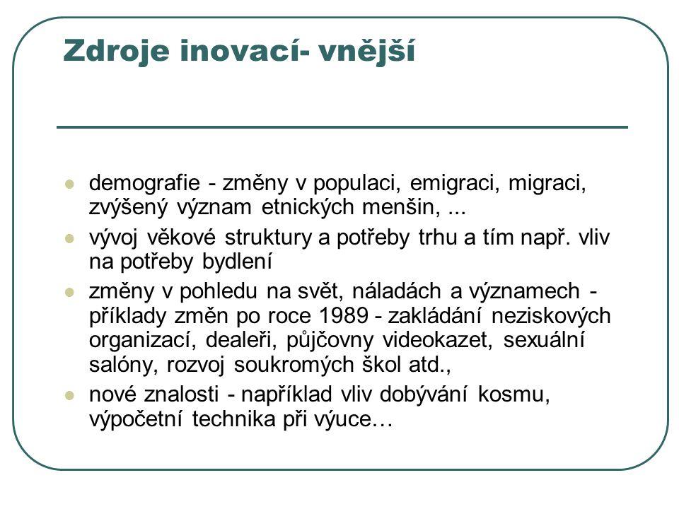 Zdroje inovací- vnější demografie - změny v populaci, emigraci, migraci, zvýšený význam etnických menšin,... vývoj věkové struktury a potřeby trhu a t