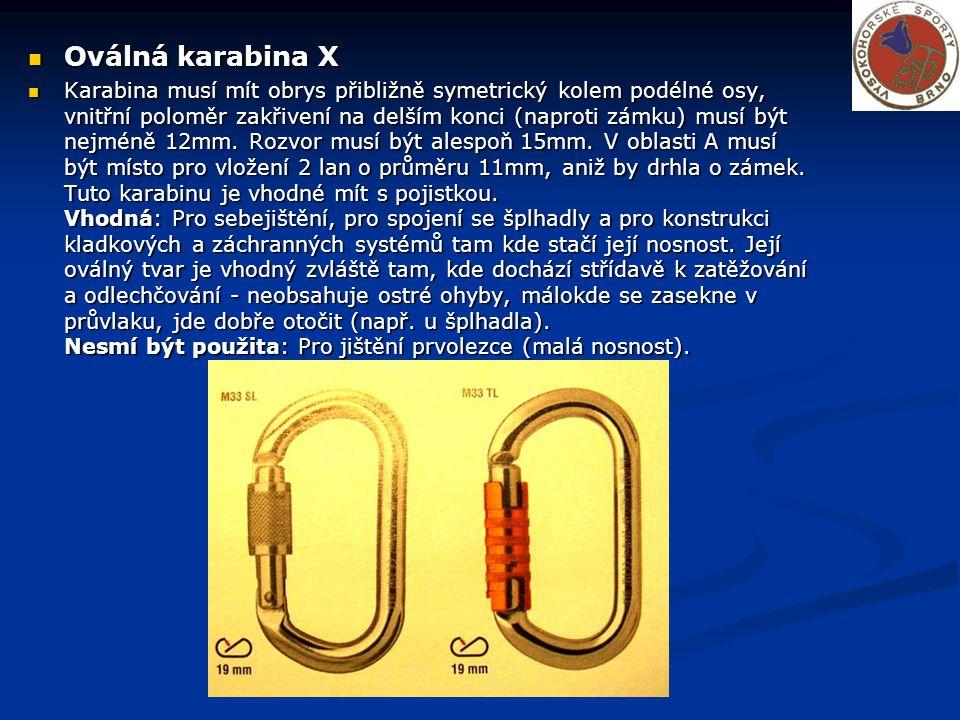 Oválná karabina X Oválná karabina X Karabina musí mít obrys přibližně symetrický kolem podélné osy, vnitřní poloměr zakřivení na delším konci (naproti