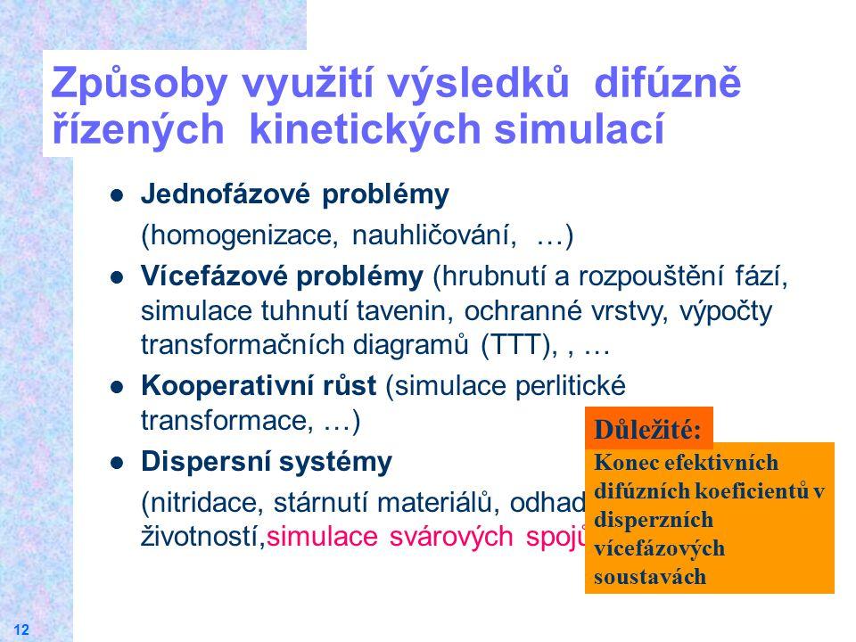 12 Způsoby využití výsledků difúzně řízených kinetických simulací Jednofázové problémy (homogenizace, nauhličování, …) Vícefázové problémy (hrubnutí a