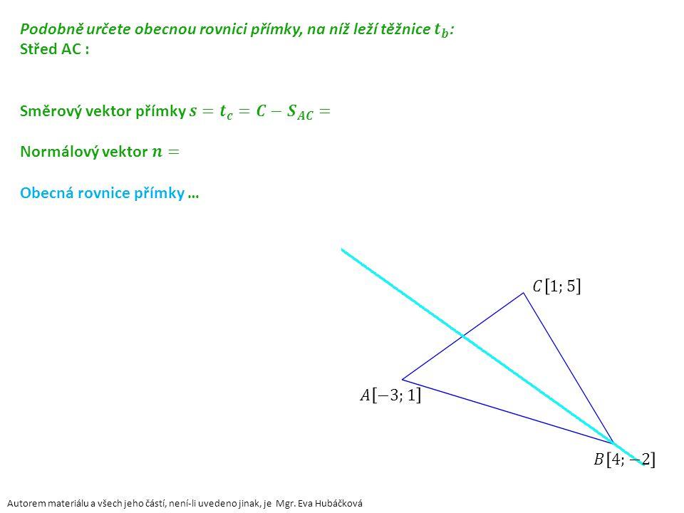 Řešení průběžného úkolu: x + y – 2 = 0 Autorem materiálu a všech jeho částí, není-li uvedeno jinak, je Mgr.
