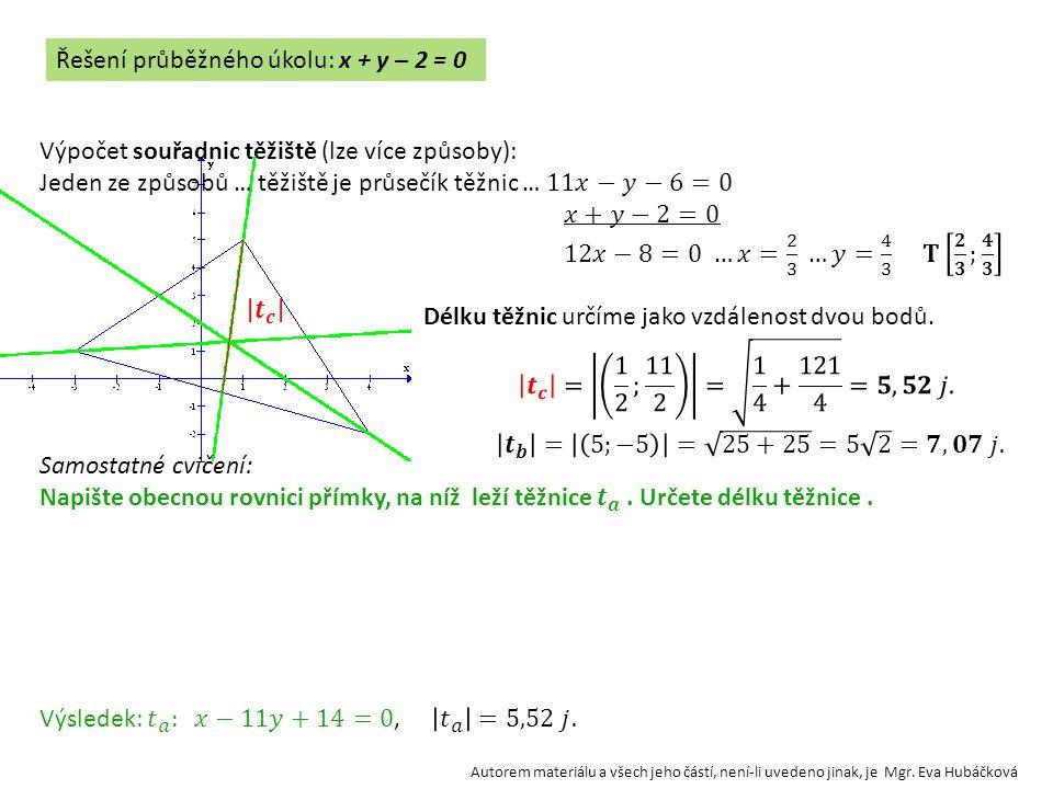 Řešení průběžného úkolu: x + y – 2 = 0 Autorem materiálu a všech jeho částí, není-li uvedeno jinak, je Mgr. Eva Hubáčková