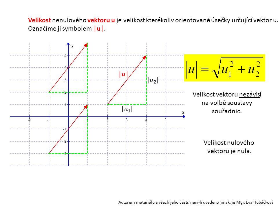 Autorem materiálu a všech jeho částí, není-li uvedeno jinak, je Mgr. Eva Hubáčková Velikost nenulového vektoru u je velikost kterékoliv orientované ús