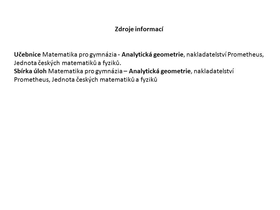 Zdroje informací Učebnice Matematika pro gymnázia - Analytická geometrie, nakladatelství Prometheus, Jednota českých matematiků a fyziků. Sbírka úloh