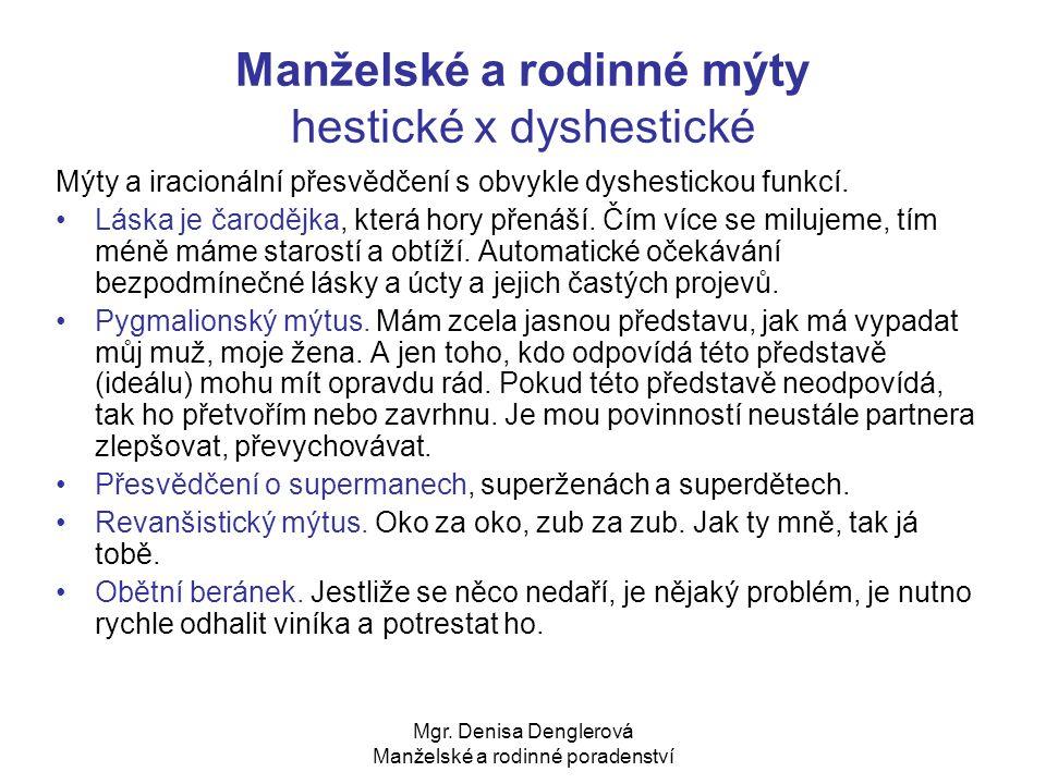 Mgr. Denisa Denglerová Manželské a rodinné poradenství Manželské a rodinné mýty hestické x dyshestické Mýty a iracionální přesvědčení s obvykle dyshes
