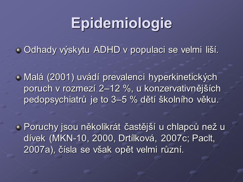 Epidemiologie Odhady výskytu ADHD v populaci se velmi liší. Malá (2001) uvádí prevalenci hyperkinetických poruch v rozmezí 2–12 %, u konzervativnějšíc