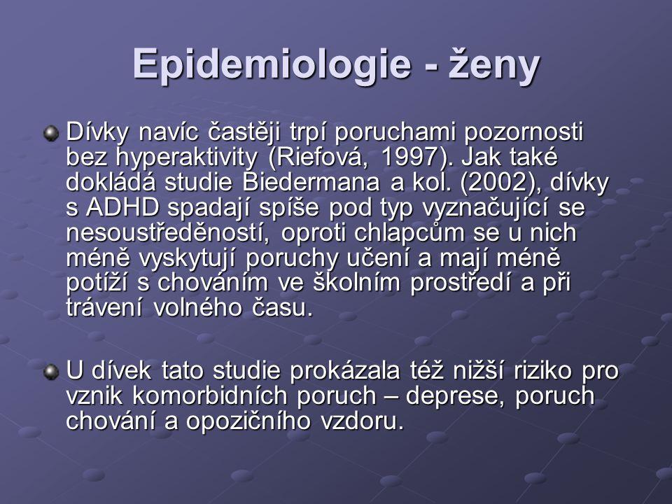 Epidemiologie - ženy Dívky navíc častěji trpí poruchami pozornosti bez hyperaktivity (Riefová, 1997). Jak také dokládá studie Biedermana a kol. (2002)