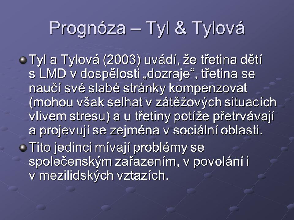 """Prognóza – Tyl & Tylová Tyl a Tylová (2003) uvádí, že třetina dětí s LMD v dospělosti """"dozraje"""", třetina se naučí své slabé stránky kompenzovat (mohou"""