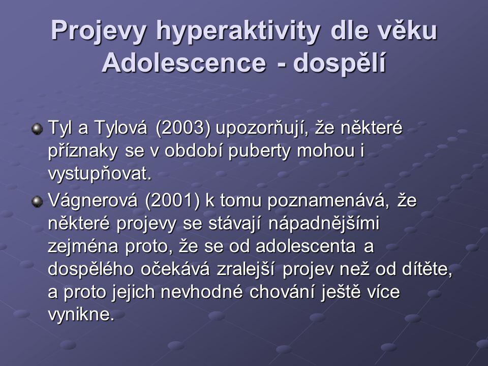 Projevy hyperaktivity dle věku Adolescence - dospělí Tyl a Tylová (2003) upozorňují, že některé příznaky se v období puberty mohou i vystupňovat. Vágn