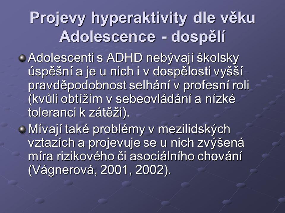Projevy hyperaktivity dle věku Adolescence - dospělí Adolescenti s ADHD nebývají školsky úspěšní a je u nich i v dospělosti vyšší pravděpodobnost selh