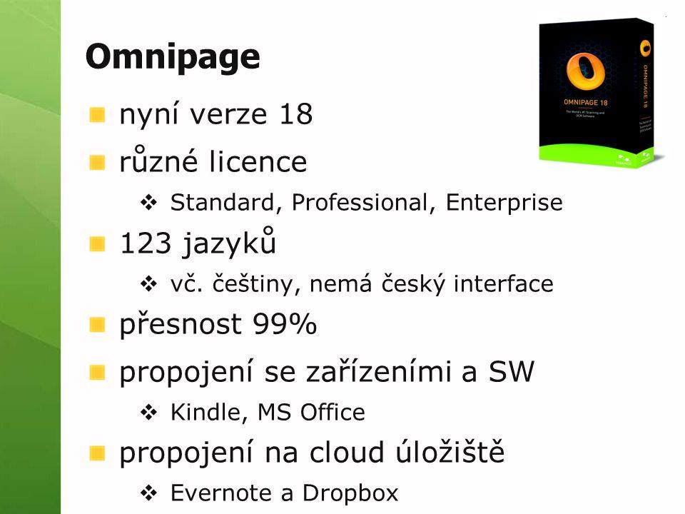 Omnipage nyní verze 18 různé licence  Standard, Professional, Enterprise 123 jazyků  vč.