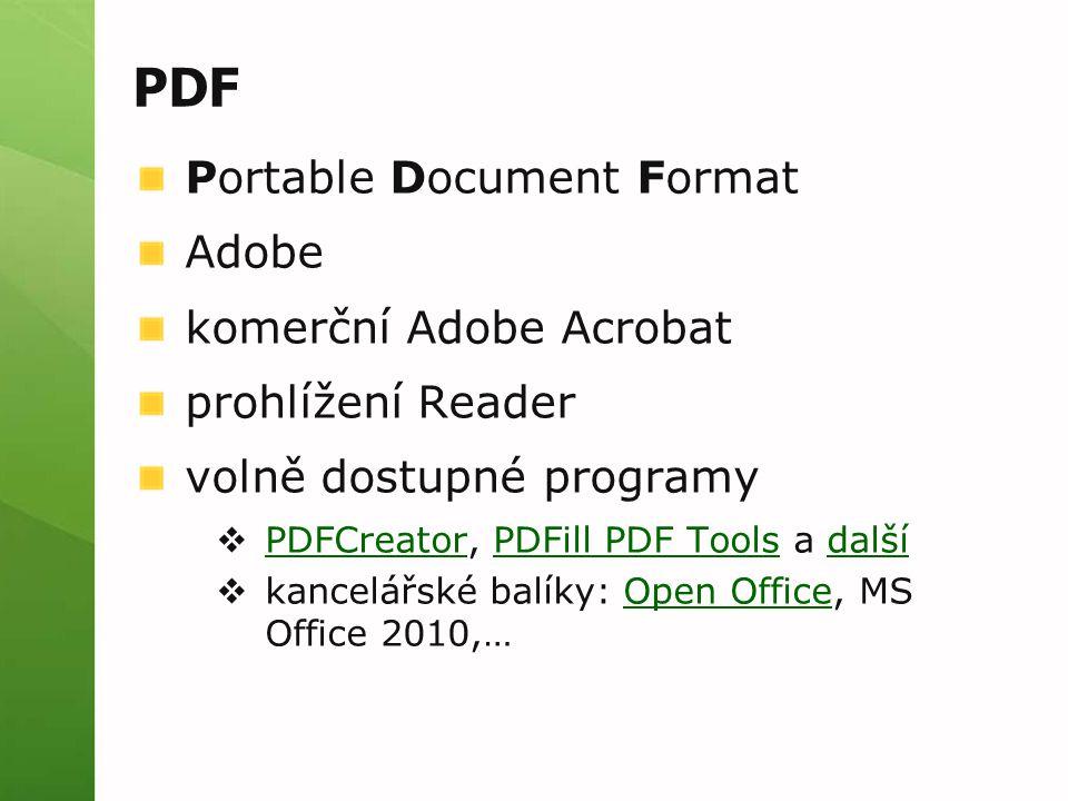 PDF Portable Document Format Adobe komerční Adobe Acrobat prohlížení Reader volně dostupné programy  PDFCreator, PDFill PDF Tools a další PDFCreatorPDFill PDF Toolsdalší  kancelářské balíky: Open Office, MS Office 2010,…Open Office